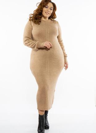 Стильное теплое женское платье миди вязаное женское платье батал демисезонное женское платье большого размера кашемировое женское платье на зиму