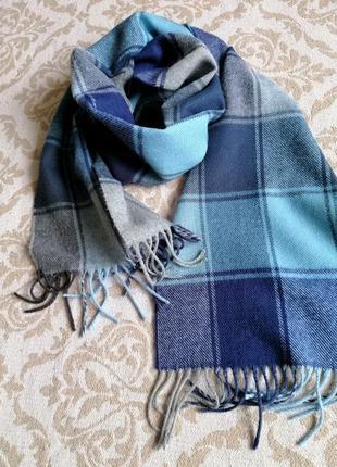 Тёплый шарф в клетку, сине-голубой шарф