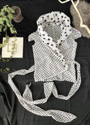 Блуза с объемным воротником, в горошек