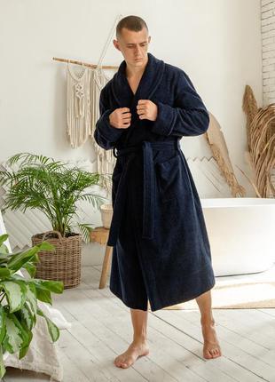 Мужской натуральный махровый халат, домашний темно-синий халат на запах