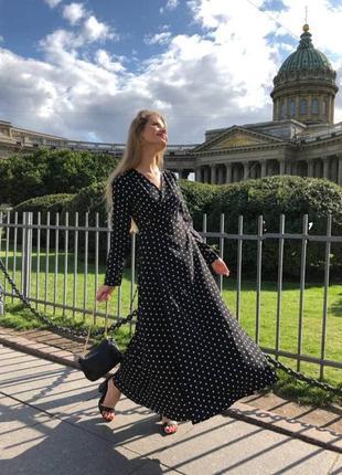 Платье женское на запах, длинное, черное в горошек, осеннее, весеннее, 42- 44, 46 - 48, хс - с, м -л