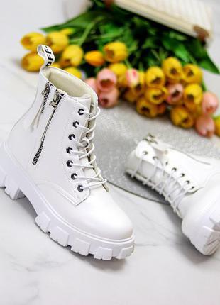 Трендовые белые женские ботинки на флисе на утолщенной подошве,  к. 11691
