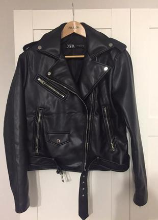 Кожанка байкерская куртка искусственная кожа зара zara