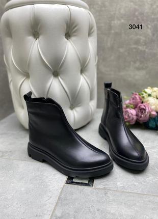 Женские ботинки натуральная кожа черные р.37-40
