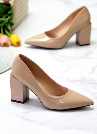 Элегантные женственные женские туфли на фигурном каблуке   к 11677