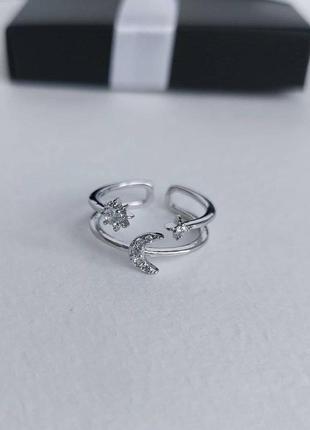 Серебряное кольцо луна и звезды