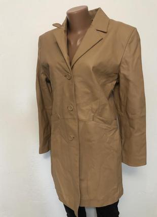 Женское коричневое кожаное пальто for women