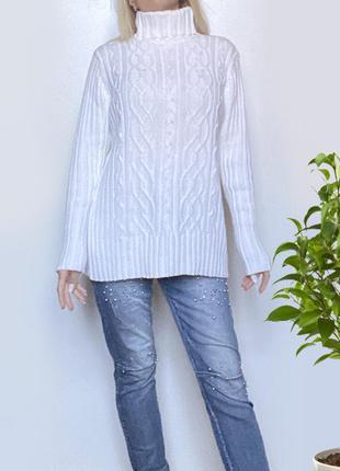 Гольф белый свитер с горловиной женский l-xl хлопок