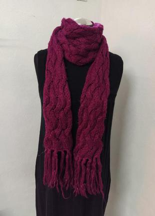Длинный шарф, объёмный шарф яркий цвет малиновый