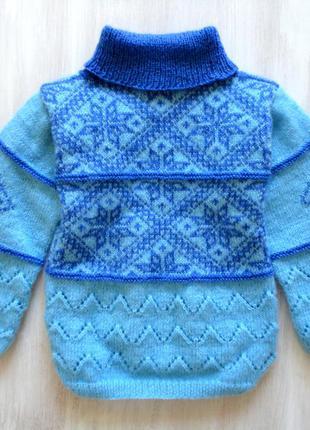 Свитер ручной вязки узор снежинки❄, скандинавский стиль, отличный подарок 🎁🌟🎄2