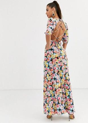 В наличии!!! нереально роскошное платье asos tall в яркие цветы! на высоких, шнуровка на спине!