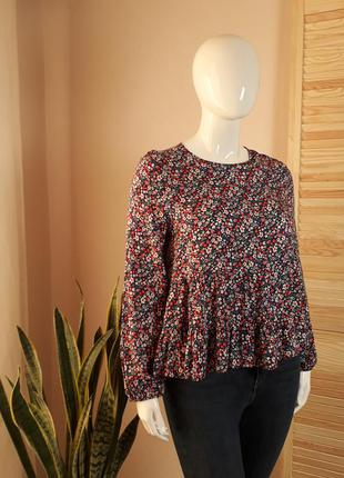 Блуза  натуральная баска цветочная с длинным рукавом