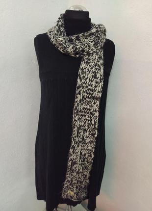 Длинный шарф, объёмный шарф яркий цвет черно-белый