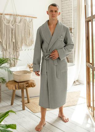 Натуральный мужской вафельный халат, серый мужской домашний халат