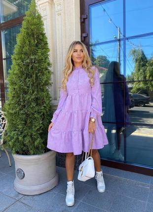 Платье ярусное вельветовое лаванда