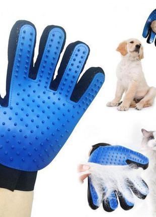 Перчатка для вычесывания шерсти кошек и собак truedough синий (51004/u)