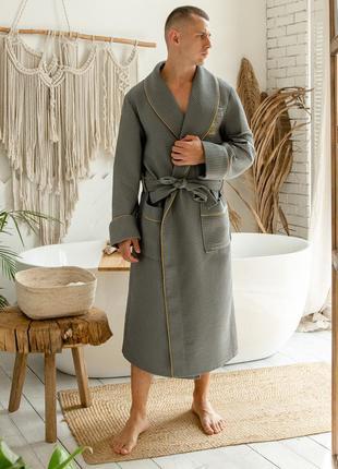 Натуральный мужской вафельный халат, серый длинный домашний халат на запах