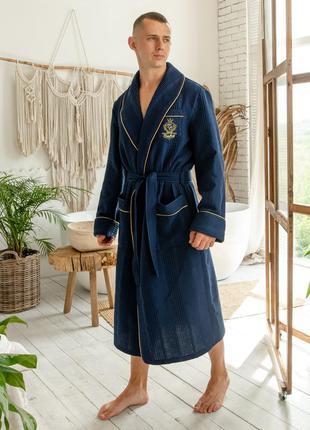 Натуральный мужской вафельный халат, темно-синий мужской домашний халат на запах
