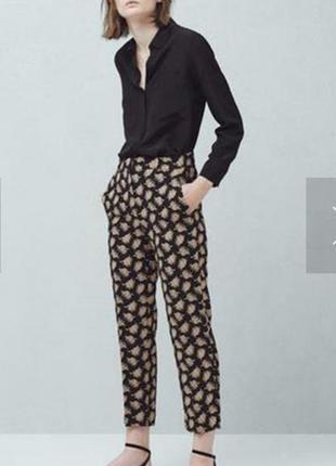 Женские штаны с высокой посадкой в принт на р.48