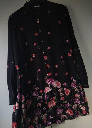 Подовжена блуза туніка в квіти великого розміру / удлиненная блуза в цветы