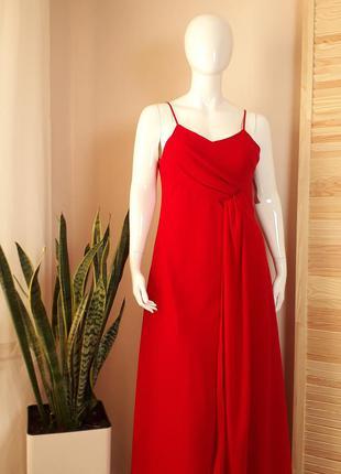 Платье комбинация красное макси