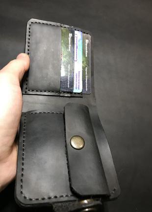 Чёрный кошелёк из натуральной кожи крс