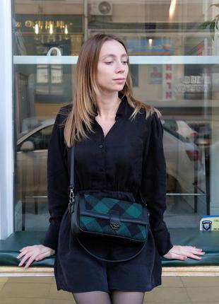 Женская сумка «наоми» зеленая клетка