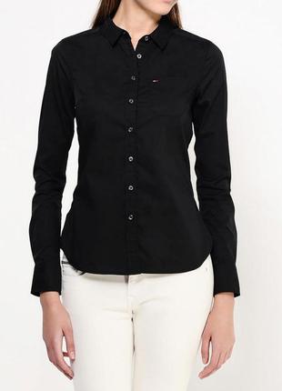 Крутая стрейчевая черная рубашка приталенного кроя tommy hilfiger denim made in turkey