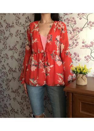 Шикарная накидка блузка на завязках primark 14-42-xl