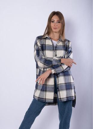 Рубашка женская 632f019-3, платье-рубашка в клетку