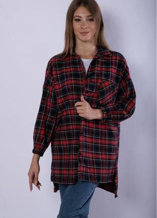 Рубашка женская 632f019-4, платье-рубашка в клетку