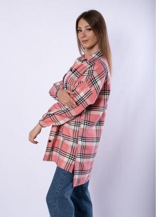 Рубашка женская 632f019-6, платье-рубашка в клетку