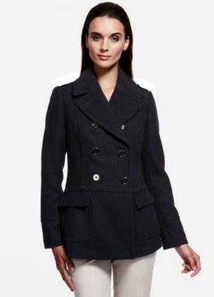 Шерстяное двубортное темно-синее пальто autograph от marks&spencer