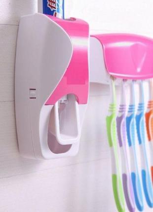 Набор 2 в 1! автоматический дозатор зубной пасты и держатель для 5 щеток