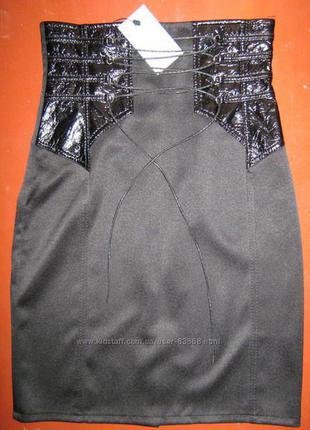 42р. новая юбка-карандаш на шнуровке, завышенная талия, отделка под кожу