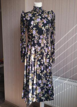 Платье миди в цветы zara h&m warehouse