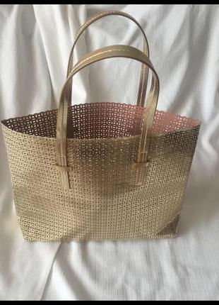 Золотая сумка пляжная или шоппер в дырочку