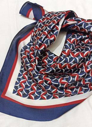 Атласный платок косынка синий вишня повязка твилли