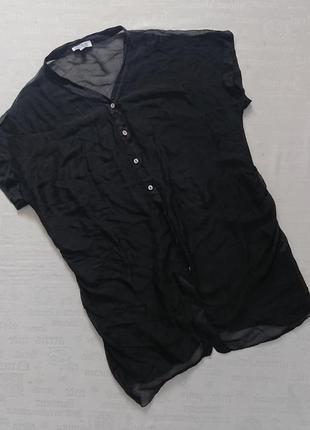 Оригинальная шелковая блуза/легкая удлиненная накидка la fille du couturier #100%шелк#