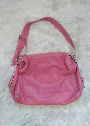 Винтажная объемная сумка багет натуральная кожа