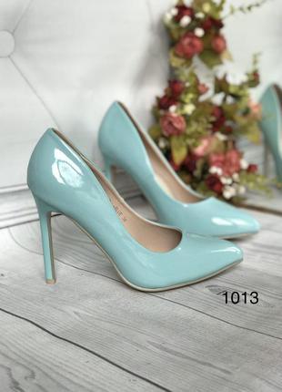 Женские туфли кожа,цвет бирюза,голубые