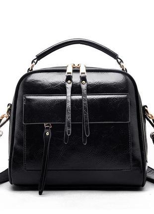 Женская кожаная чёрная ручная сумка
