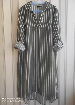 Классное трендовое платье, рубашка в полоску. коттон+лён. большой размер.