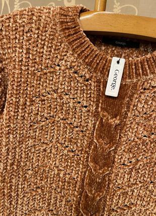 Очень красивый и стильный брендовый вязаный тёплый свитер-оверсайз.