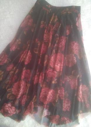 Ассиметричная юбка-сетка,р.38-40