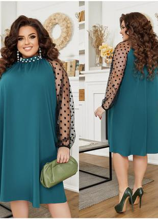 Изумрудное вечернее платье с рукавами сетка.  размеры до 66-го