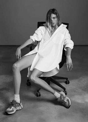 Свободное базовое платье - рубашка оверсайз из новых коллекций zara как h&m asos в идеале