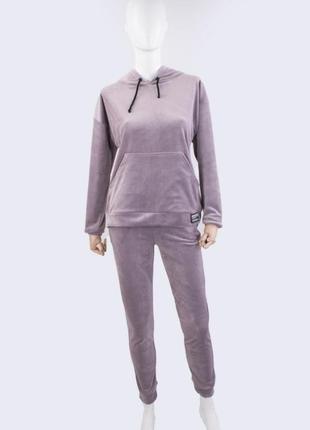Качественный женский сиреневый спортивный костюм комбинезон из велюра 42,44,46,48