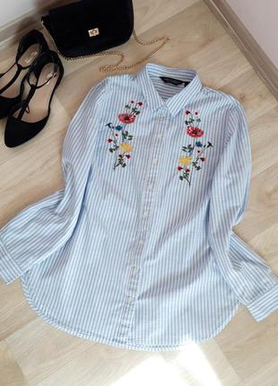 Рубашка блузка кофточка футболка классическая полоска белый голубой вышивка dorothy perkins zara h&m bershka primark asos next mango