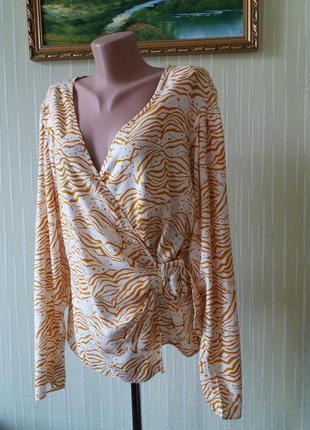 Блуза рубашка на запах asos с поясом принт полоска анималистический натуральная ткань вискоза